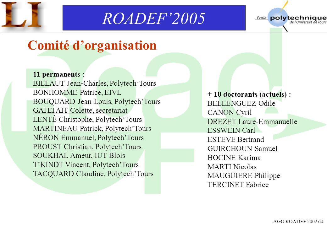 AGO ROADEF 2002 60 ROADEF2005 Comité dorganisation 11 permanents : BILLAUT Jean-Charles, PolytechTours BONHOMME Patrice, EIVL BOUQUARD Jean-Louis, Pol