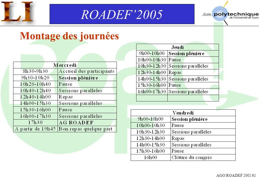 AGO ROADEF 2002 61 ROADEF2005 Montage des journées