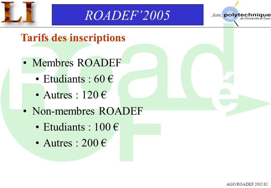AGO ROADEF 2002 62 ROADEF2005 Tarifs des inscriptions Membres ROADEF Etudiants : 60 Autres : 120 Non-membres ROADEF Etudiants : 100 Autres : 200
