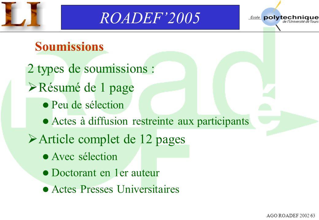 AGO ROADEF 2002 63 2 types de soumissions : Résumé de 1 page l Peu de sélection l Actes à diffusion restreinte aux participants Article complet de 12