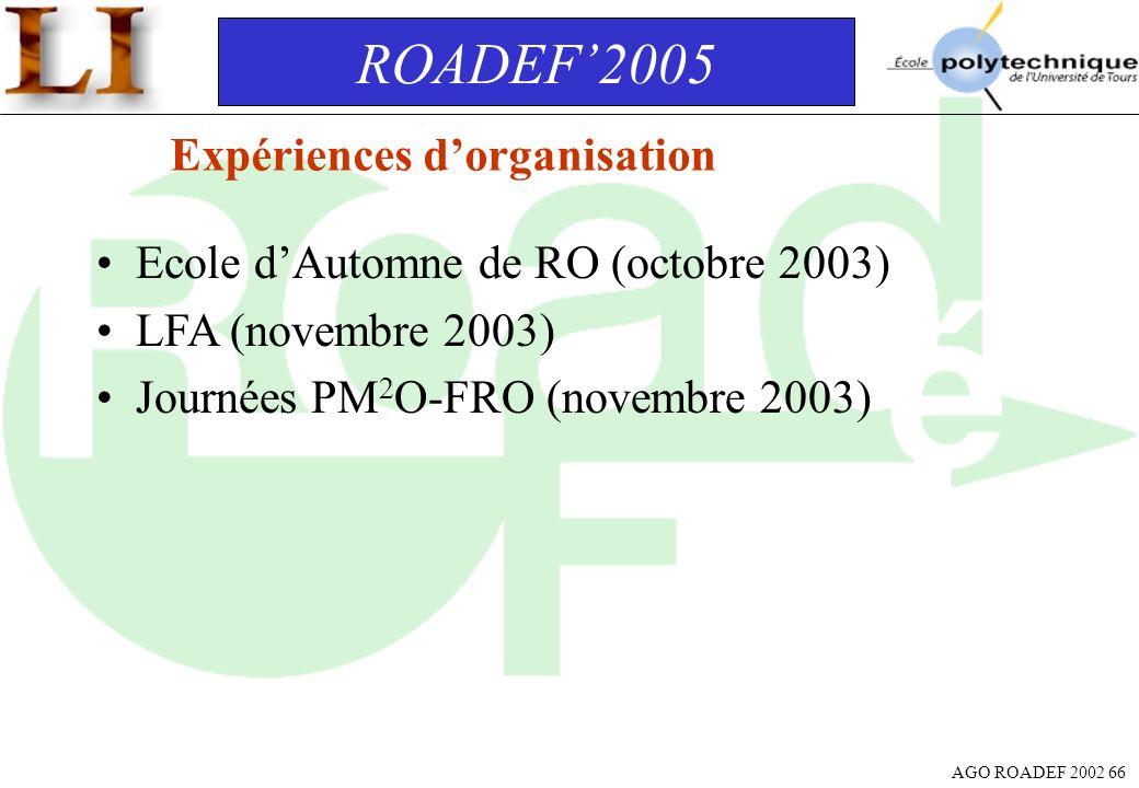 AGO ROADEF 2002 66 Expériences dorganisation Ecole dAutomne de RO (octobre 2003) LFA (novembre 2003) Journées PM 2 O-FRO (novembre 2003) ROADEF2005