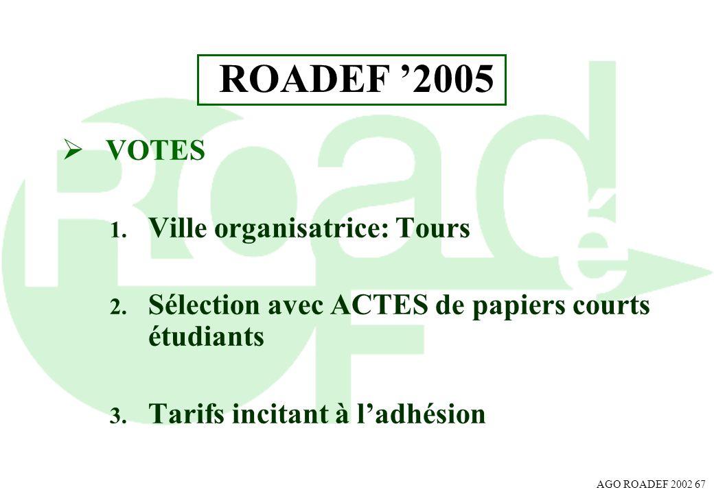 AGO ROADEF 2002 67 ROADEF 2005 VOTES 1. Ville organisatrice: Tours 2. Sélection avec ACTES de papiers courts étudiants 3. Tarifs incitant à ladhésion