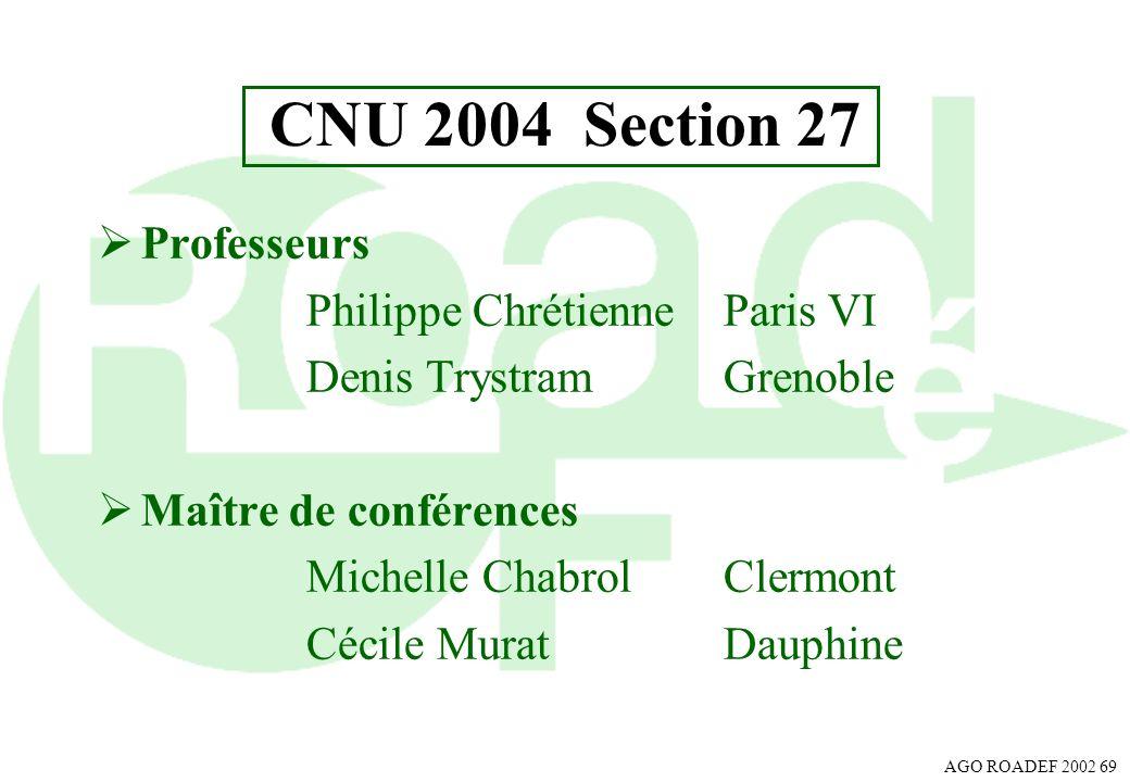 AGO ROADEF 2002 69 CNU 2004 Section 27 Professeurs Philippe Chrétienne Paris VI Denis TrystramGrenoble Maître de conférences Michelle ChabrolClermont