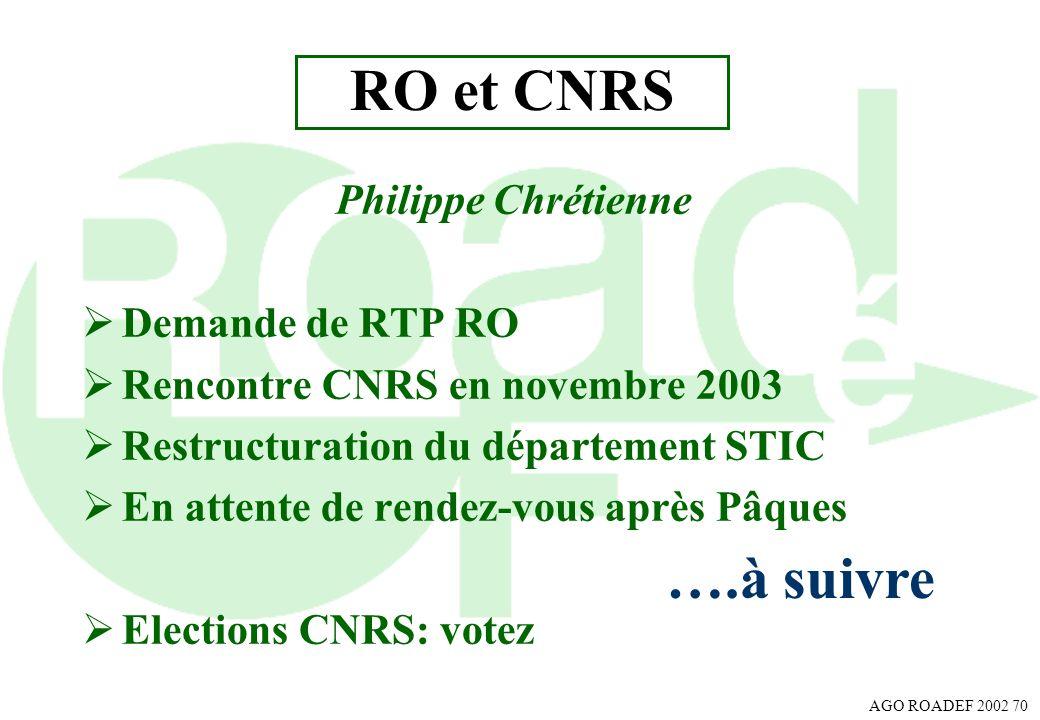 AGO ROADEF 2002 70 RO et CNRS Philippe Chrétienne Demande de RTP RO Rencontre CNRS en novembre 2003 Restructuration du département STIC En attente de