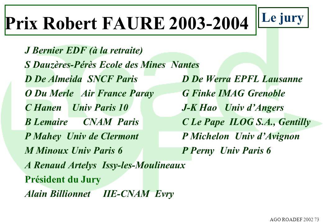 AGO ROADEF 2002 73 J Bernier EDF (à la retraite) S Dauzères-Pérès Ecole des Mines Nantes D De Almeida SNCF ParisD De Werra EPFL Lausanne O Du Merle Ai