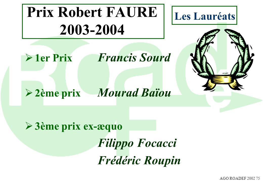 AGO ROADEF 2002 75 Prix Robert FAURE 2003-2004 1er Prix Francis Sourd 2ème prix Mourad Baïou 3ème prix ex-æquo Filippo Focacci Frédéric Roupin Les Lau