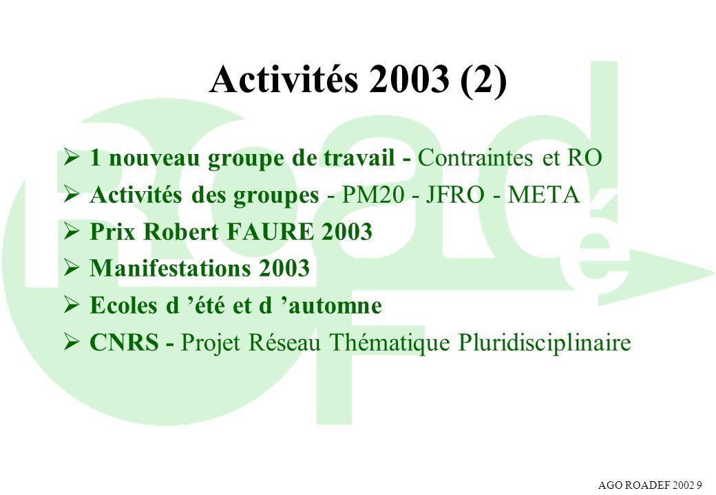 AGO ROADEF 2002 9 Activités 2003 (2) 1 nouveau groupe de travail - Contraintes et RO Activités des groupes - PM20 - JFRO - META Prix Robert FAURE 2003