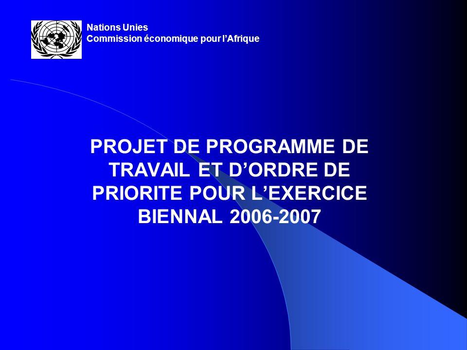 2 INTRODUCTION Le projet de programme de travail et dordre de priorité pour lexercice biennal 2006-2007 est fondé sur: Le cadre stratégique/plan-programme pour lexercice biennal 2006-2007 approuvé par la Conférence des ministres africains des finances, de la Planification et du développement économique, lors de sa réunion tenue en mai 2004 à Kampala (Ouganda);