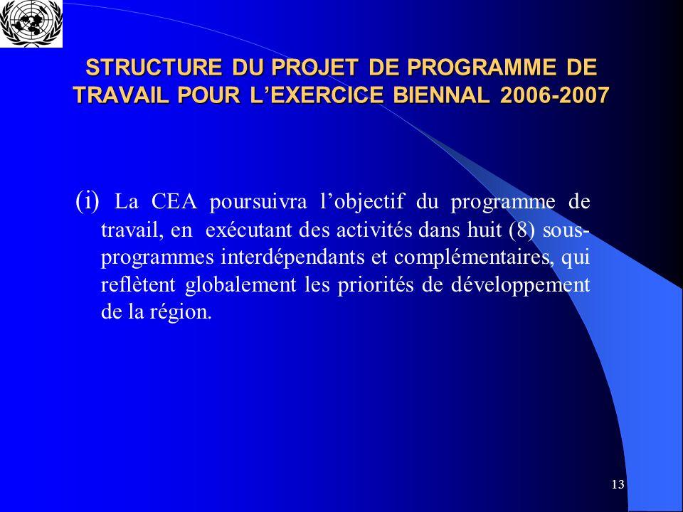 13 STRUCTURE DU PROJET DE PROGRAMME DE TRAVAIL POUR LEXERCICE BIENNAL 2006-2007 (i) La CEA poursuivra lobjectif du programme de travail, en exécutant