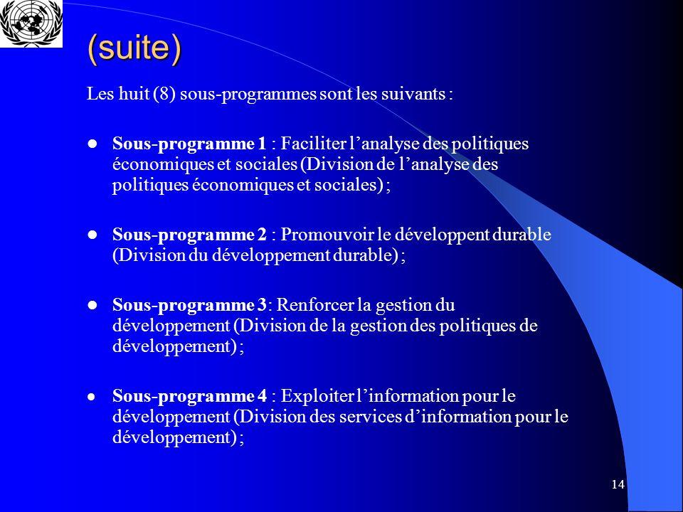 14 (suite) Les huit (8) sous-programmes sont les suivants : Sous-programme 1 : Faciliter lanalyse des politiques économiques et sociales (Division de