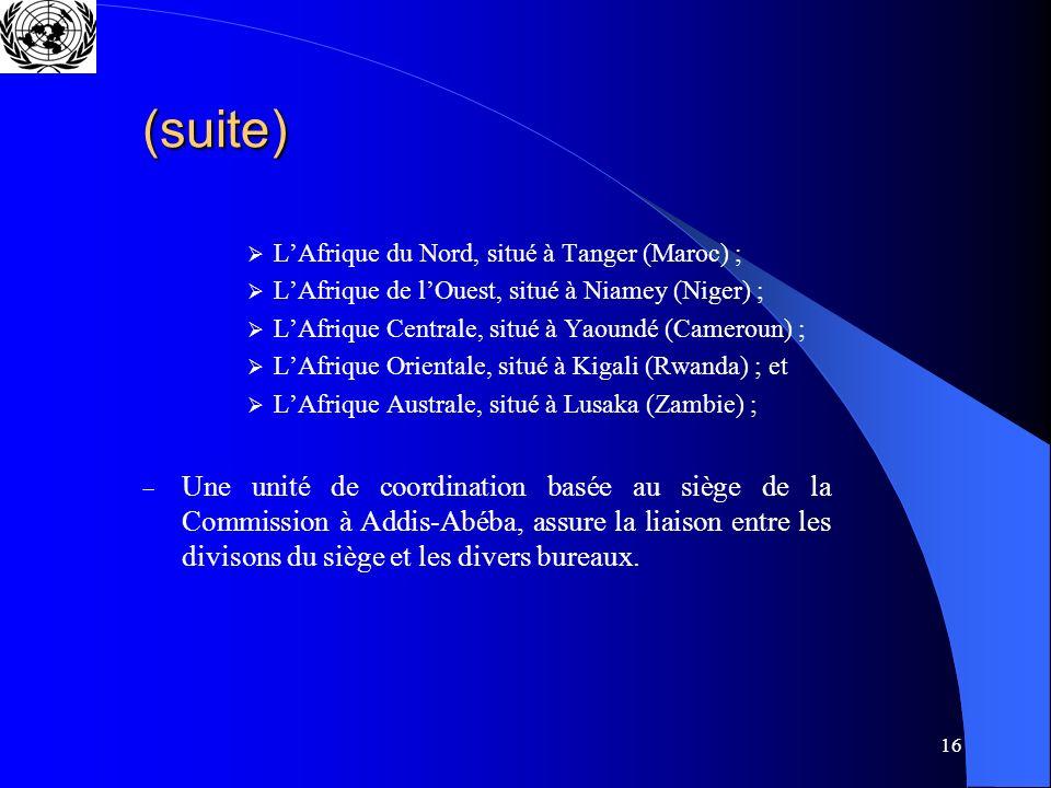 16 (suite) LAfrique du Nord, situé à Tanger (Maroc) ; LAfrique de lOuest, situé à Niamey (Niger) ; LAfrique Centrale, situé à Yaoundé (Cameroun) ; LAf