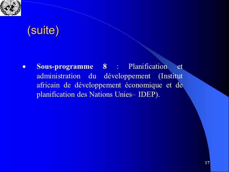 17 (suite) Sous-programme 8 : Planification et administration du développement (Institut africain de développement économique et de planification des Nations Unies– IDEP).