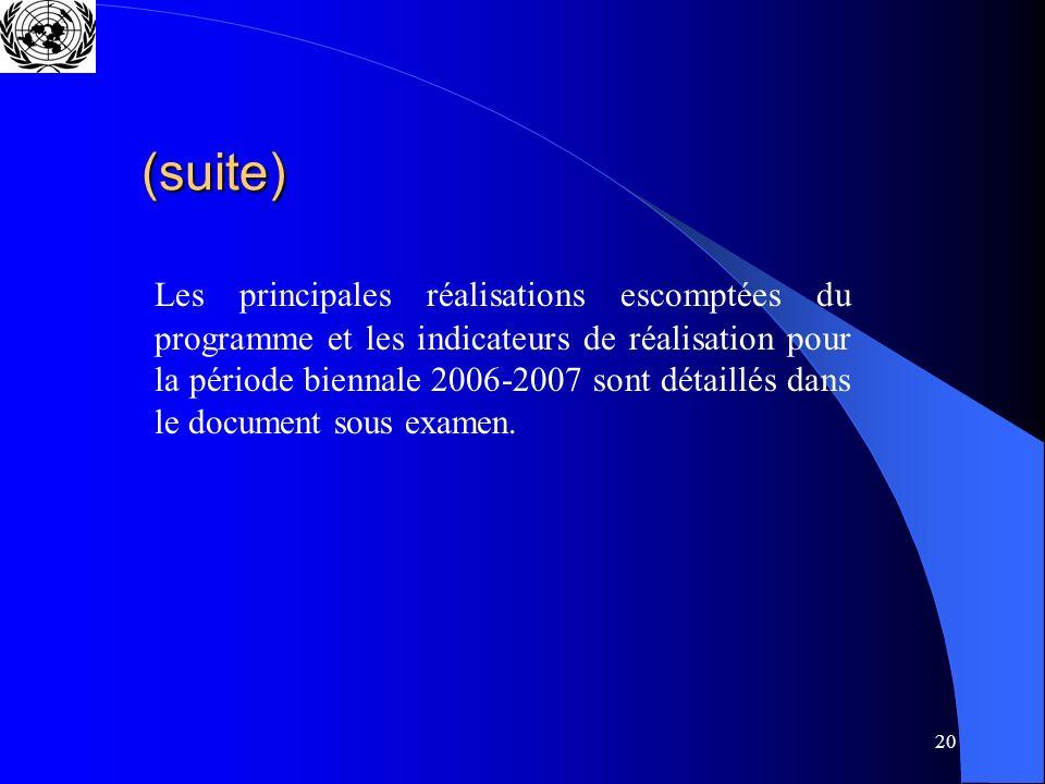 20 (suite) Les principales réalisations escomptées du programme et les indicateurs de réalisation pour la période biennale 2006-2007 sont détaillés dans le document sous examen.