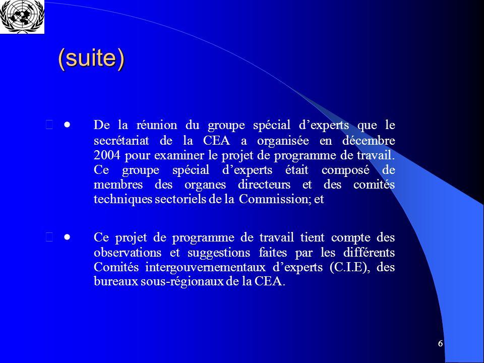 6 (suite) De la réunion du groupe spécial dexperts que le secrétariat de la CEA a organisée en décembre 2004 pour examiner le projet de programme de travail.