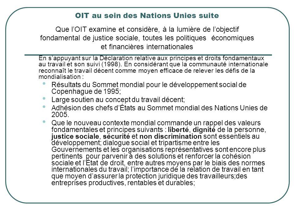 En sappuyant sur la Déclaration relative aux principes et droits fondamentaux au travail et son suivi (1998). En considérant que la communauté interna