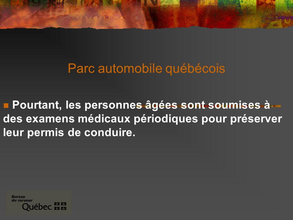 Parc automobile québécois Pourtant, les personnes âgées sont soumises à des examens médicaux périodiques pour préserver leur permis de conduire.