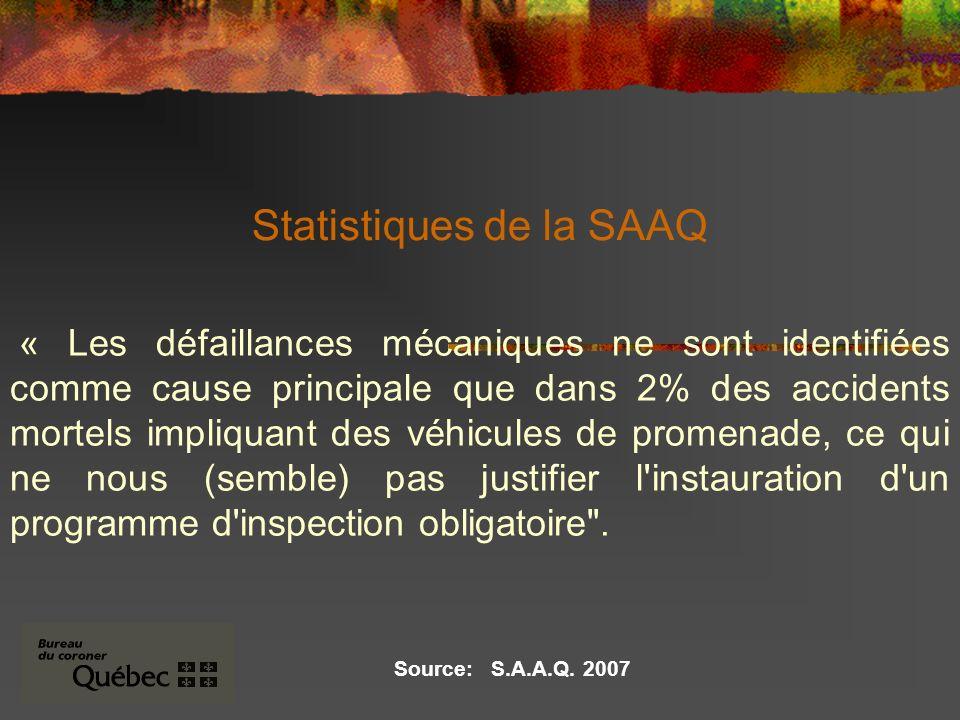 Statistiques de la SAAQ « Les défaillances mécaniques ne sont identifiées comme cause principale que dans 2% des accidents mortels impliquant des véhicules de promenade, ce qui ne nous (semble) pas justifier l instauration d un programme d inspection obligatoire .