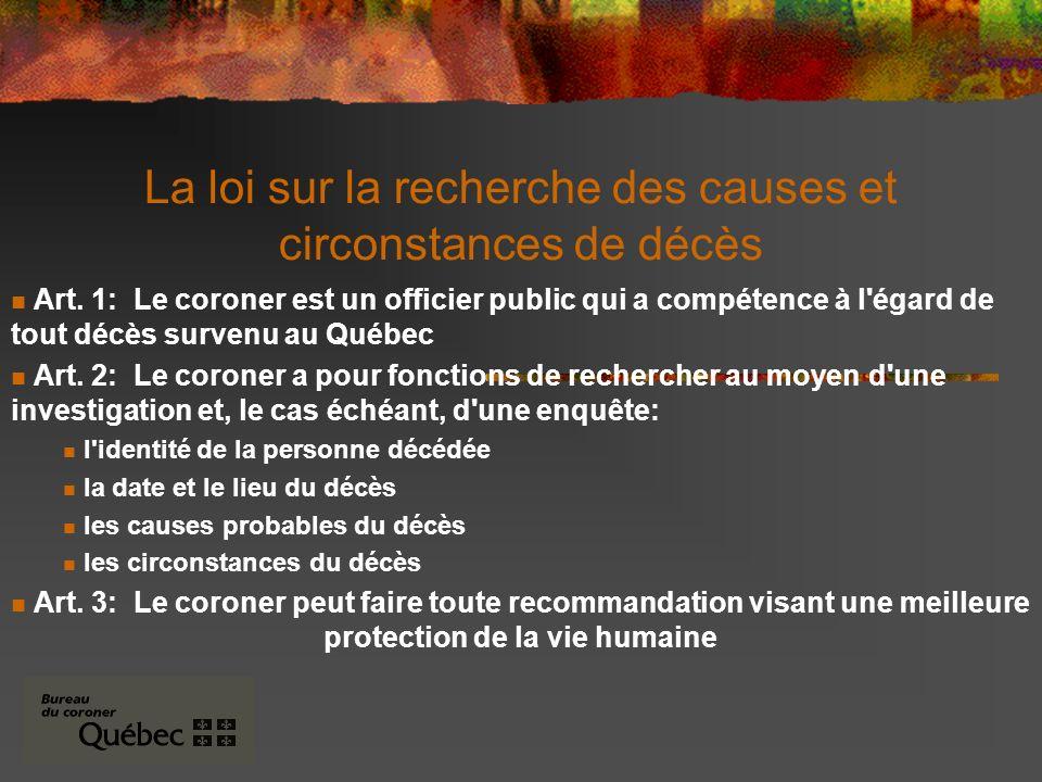 La loi sur la recherche des causes et circonstances de décès Art.