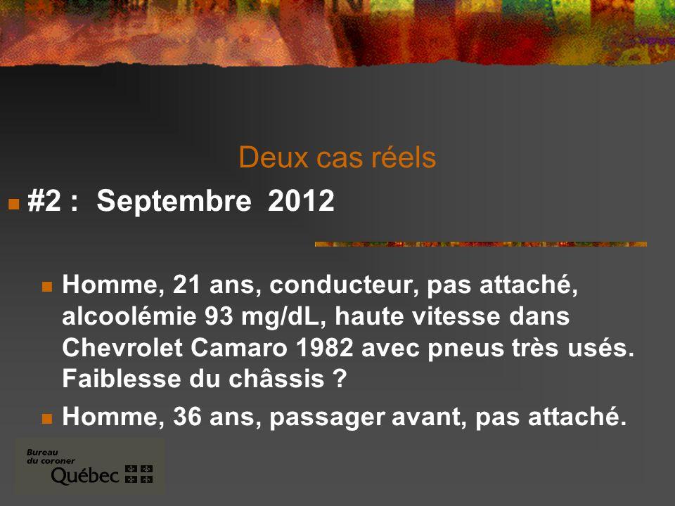 Deux cas réels #2 : Septembre 2012 Homme, 21 ans, conducteur, pas attaché, alcoolémie 93 mg/dL, haute vitesse dans Chevrolet Camaro 1982 avec pneus très usés.