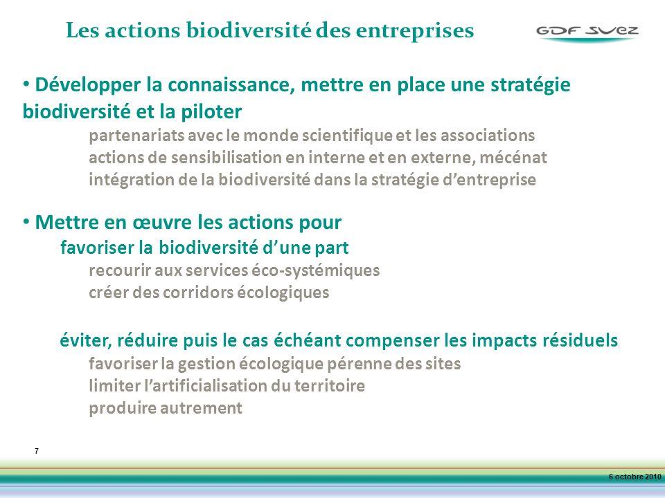 7 Les actions biodiversité des entreprises Développer la connaissance, mettre en place une stratégie biodiversité et la piloter partenariats avec le monde scientifique et les associations actions de sensibilisation en interne et en externe, mécénat intégration de la biodiversité dans la stratégie dentreprise Mettre en œuvre les actions pour favoriser la biodiversité dune part recourir aux services éco-systémiques créer des corridors écologiques éviter, réduire puis le cas échéant compenser les impacts résiduels favoriser la gestion écologique pérenne des sites limiter lartificialisation du territoire produire autrement 6 octobre 2010