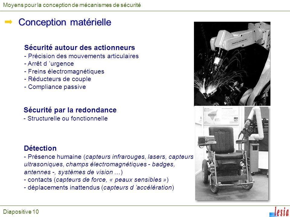 Diapositive 10 Moyens pour la conception de mécanismes de sécurité Conception matérielle Sécurité autour des actionneurs - Précision des mouvements ar