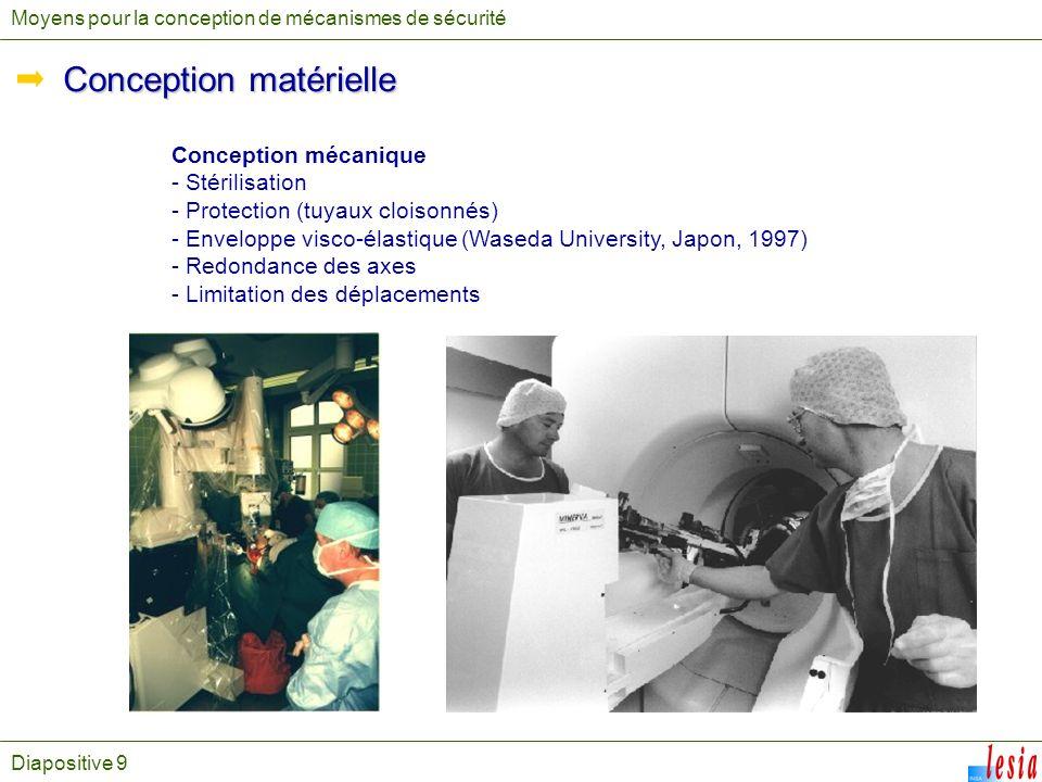 Diapositive 9 Moyens pour la conception de mécanismes de sécurité Conception matérielle Conception mécanique - Stérilisation - Protection (tuyaux cloi