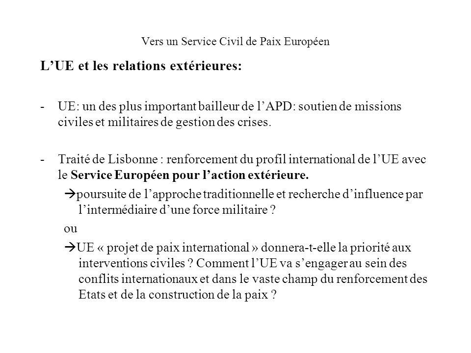 Vers un Service Civil de Paix Européen LUE et les relations extérieures: -UE: un des plus important bailleur de lAPD: soutien de missions civiles et militaires de gestion des crises.