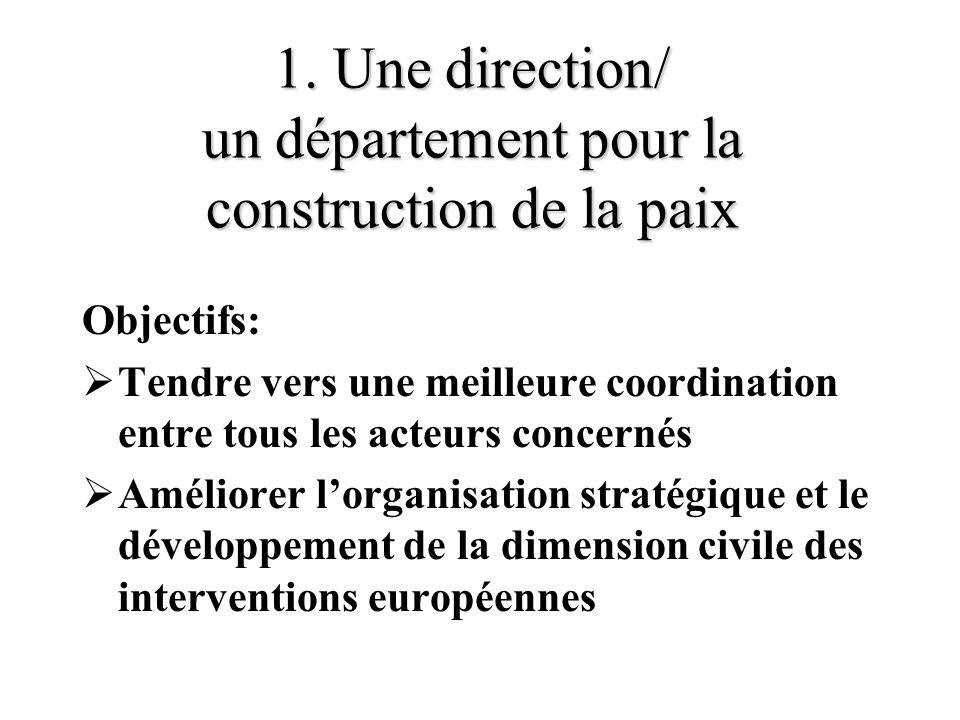 1. Une direction/ un département pour la construction de la paix Objectifs: Tendre vers une meilleure coordination entre tous les acteurs concernés Am