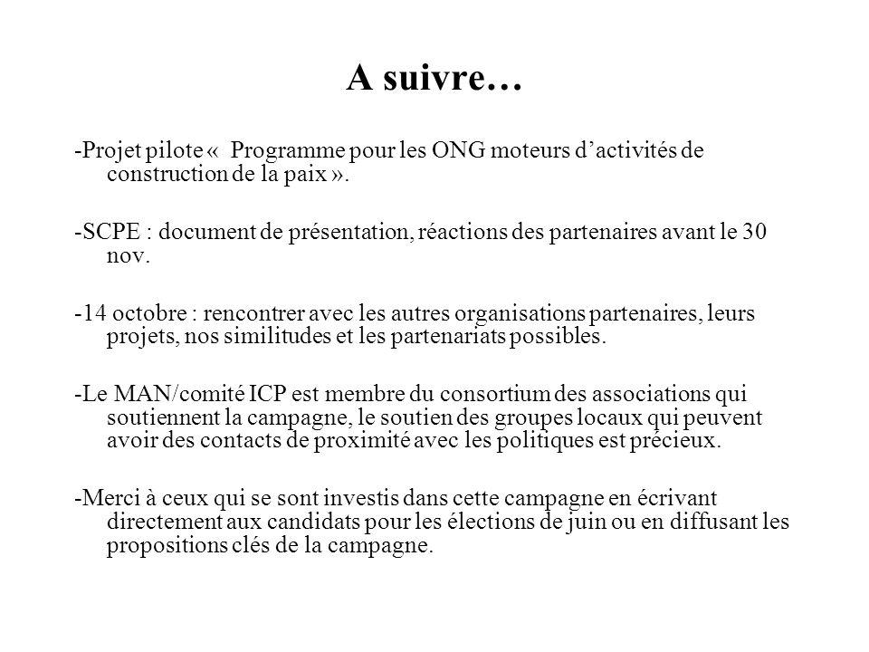 A suivre… -Projet pilote « Programme pour les ONG moteurs dactivités de construction de la paix ».