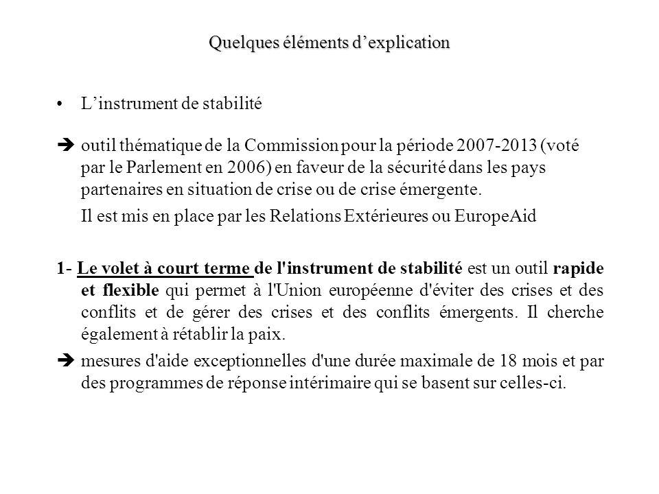 Quelques éléments dexplication Linstrument de stabilité outil thématique de la Commission pour la période 2007-2013 (voté par le Parlement en 2006) en faveur de la sécurité dans les pays partenaires en situation de crise ou de crise émergente.
