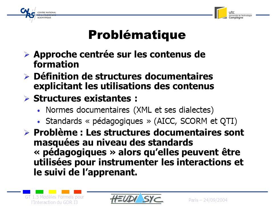 GT 1.5 Modèles Formels pour lInteraction du GDR I3 Paris – 24/09/2004 Problématique Approche centrée sur les contenus de formation Définition de struc