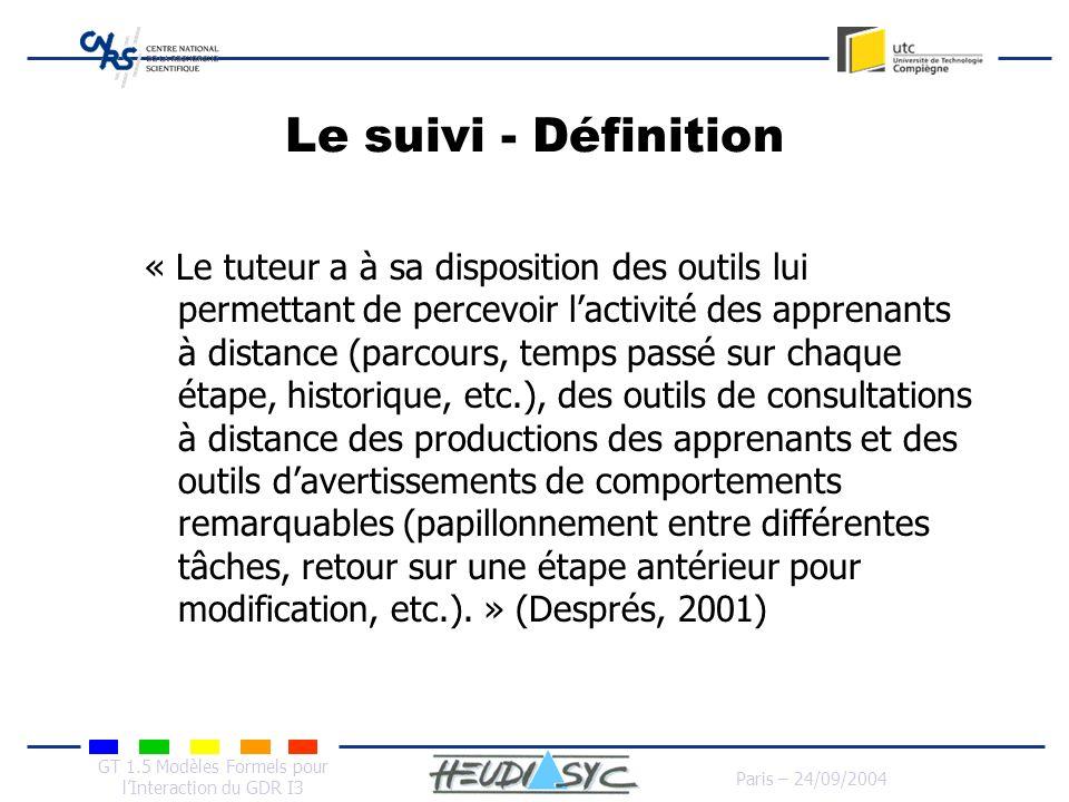 GT 1.5 Modèles Formels pour lInteraction du GDR I3 Paris – 24/09/2004 Le suivi - Définition « Le tuteur a à sa disposition des outils lui permettant d