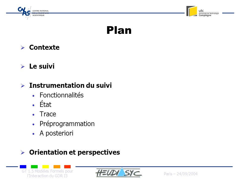 GT 1.5 Modèles Formels pour lInteraction du GDR I3 Paris – 24/09/2004 Plan Contexte Le suivi Instrumentation du suivi Fonctionnalités État Trace Prépr