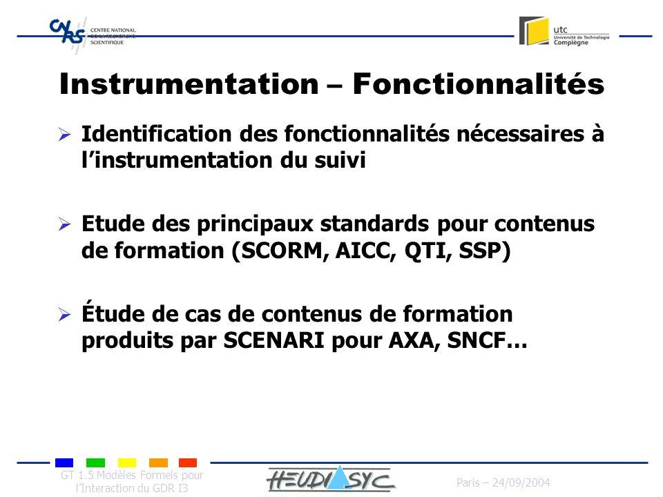 GT 1.5 Modèles Formels pour lInteraction du GDR I3 Paris – 24/09/2004 Instrumentation – Fonctionnalités Identification des fonctionnalités nécessaires