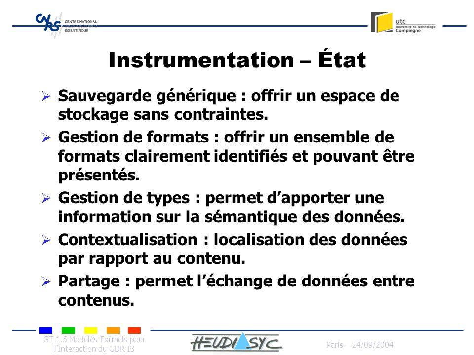GT 1.5 Modèles Formels pour lInteraction du GDR I3 Paris – 24/09/2004 Instrumentation – État Sauvegarde générique : offrir un espace de stockage sans
