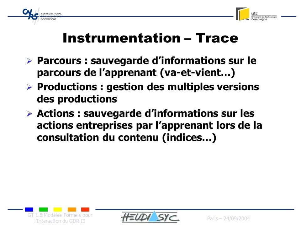 GT 1.5 Modèles Formels pour lInteraction du GDR I3 Paris – 24/09/2004 Instrumentation – Trace Parcours : sauvegarde dinformations sur le parcours de l