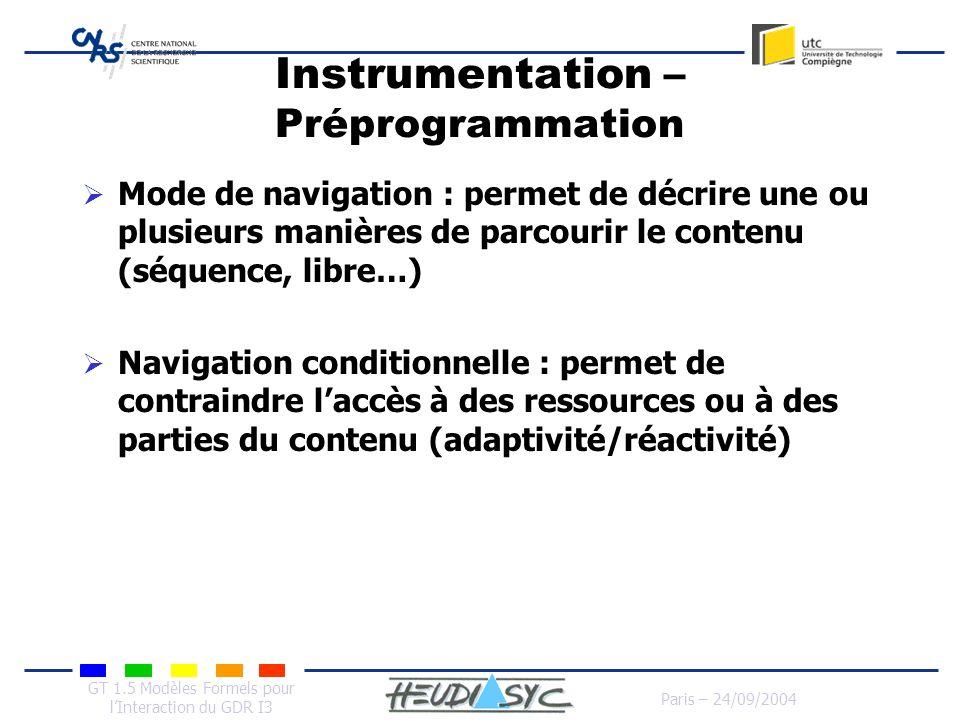 GT 1.5 Modèles Formels pour lInteraction du GDR I3 Paris – 24/09/2004 Instrumentation – Préprogrammation Mode de navigation : permet de décrire une ou
