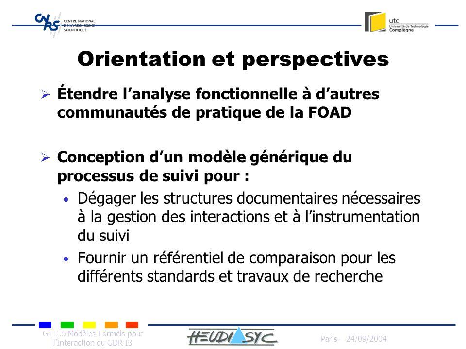 GT 1.5 Modèles Formels pour lInteraction du GDR I3 Paris – 24/09/2004 Orientation et perspectives Étendre lanalyse fonctionnelle à dautres communautés