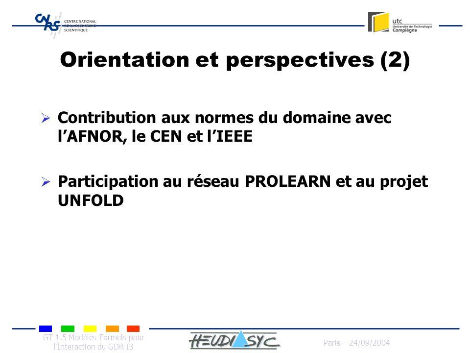 GT 1.5 Modèles Formels pour lInteraction du GDR I3 Paris – 24/09/2004 Orientation et perspectives (2) Contribution aux normes du domaine avec lAFNOR,