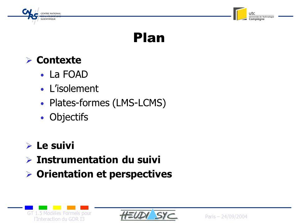 GT 1.5 Modèles Formels pour lInteraction du GDR I3 Paris – 24/09/2004 Plan Contexte La FOAD Lisolement Plates-formes (LMS-LCMS) Objectifs Le suivi Ins