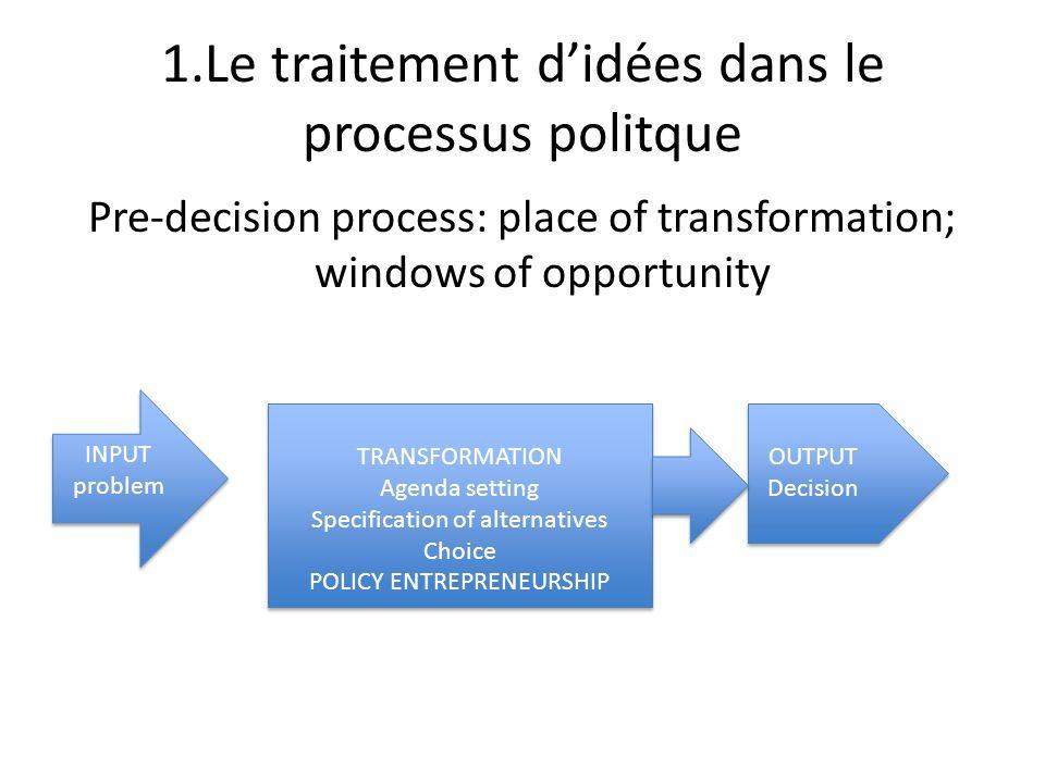 1.Le traitement didées dans le processus politque Pre-decision process: place of transformation; windows of opportunity INPUT problem INPUT problem OU