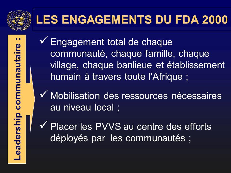 Engagement total de chaque communauté, chaque famille, chaque village, chaque banlieue et établissement humain à travers toute l Afrique ; Mobilisation des ressources nécessaires au niveau local ; Placer les PVVS au centre des efforts déployés par les communautés ; LES ENGAGEMENTS DU FDA 2000 Leadership communautaire :