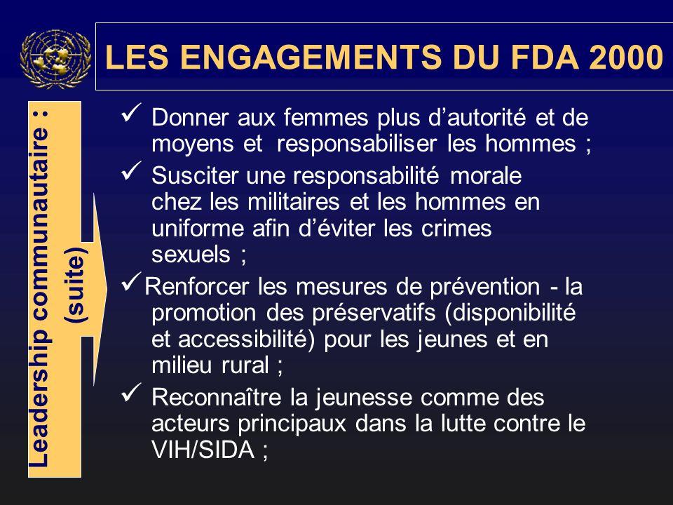 Donner aux femmes plus dautorité et de moyens et responsabiliser les hommes ; Susciter une responsabilité morale chez les militaires et les hommes en uniforme afin déviter les crimes sexuels ; Renforcer les mesures de prévention - la promotion des préservatifs (disponibilité et accessibilité) pour les jeunes et en milieu rural ; Reconnaître la jeunesse comme des acteurs principaux dans la lutte contre le VIH/SIDA ; LES ENGAGEMENTS DU FDA 2000 Leadership communautaire : (suite)