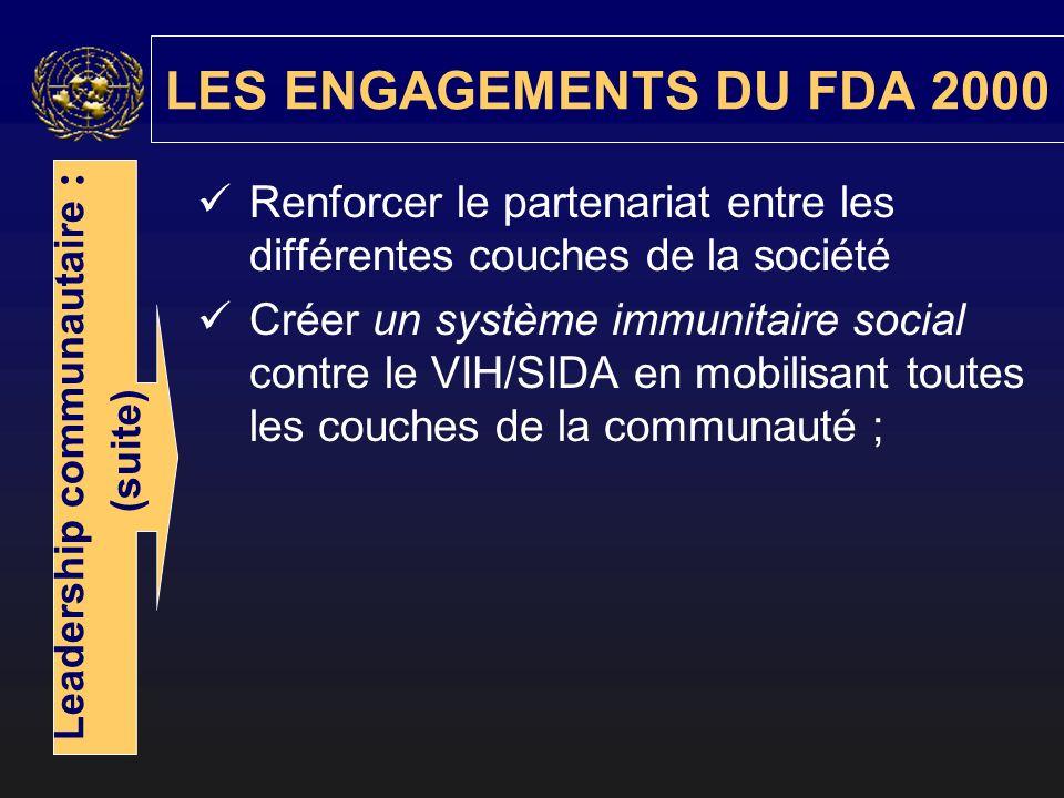 Renforcer le partenariat entre les différentes couches de la société Créer un système immunitaire social contre le VIH/SIDA en mobilisant toutes les couches de la communauté ; LES ENGAGEMENTS DU FDA 2000 Leadership communautaire : (suite)