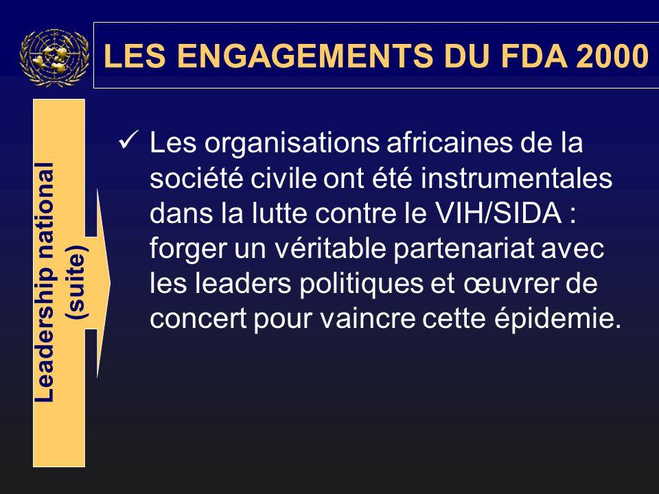 LES ENGAGEMENTS DU FDA 2000 Leadership national (suite) Les organisations africaines de la société civile ont été instrumentales dans la lutte contre le VIH/SIDA : forger un véritable partenariat avec les leaders politiques et œuvrer de concert pour vaincre cette épidemie.
