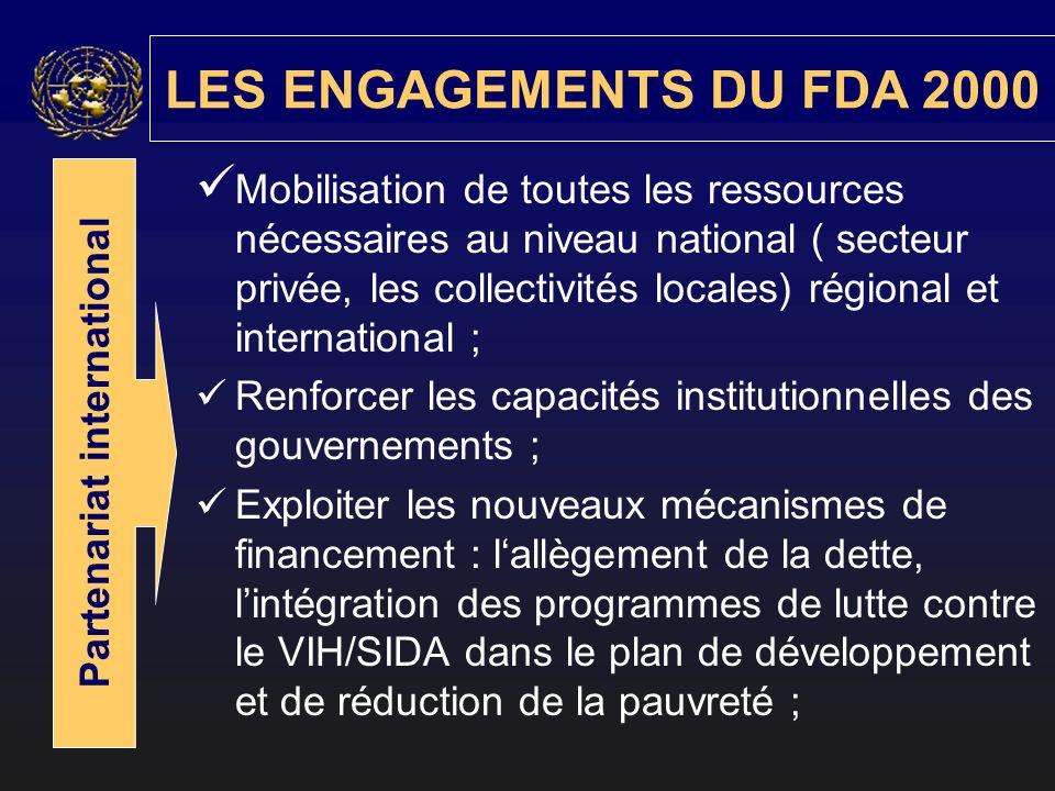 Mobilisation de toutes les ressources nécessaires au niveau national ( secteur privée, les collectivités locales) régional et international ; Renforcer les capacités institutionnelles des gouvernements ; Exploiter les nouveaux mécanismes de financement : lallègement de la dette, lintégration des programmes de lutte contre le VIH/SIDA dans le plan de développement et de réduction de la pauvreté ; LES ENGAGEMENTS DU FDA 2000 Partenariat international