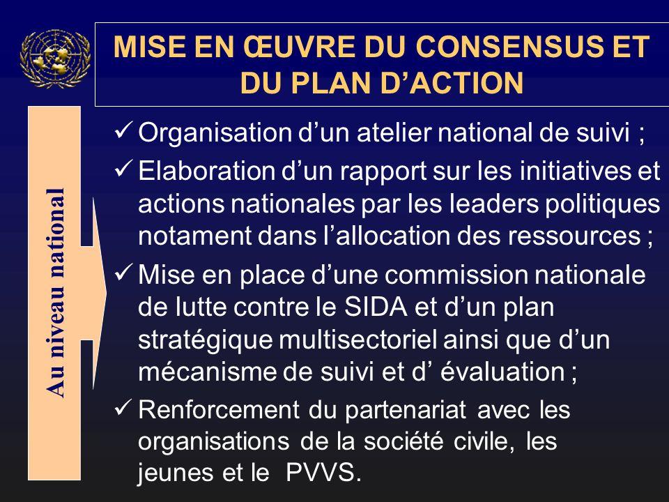Organisation dun atelier national de suivi ; Elaboration dun rapport sur les initiatives et actions nationales par les leaders politiques notament dan