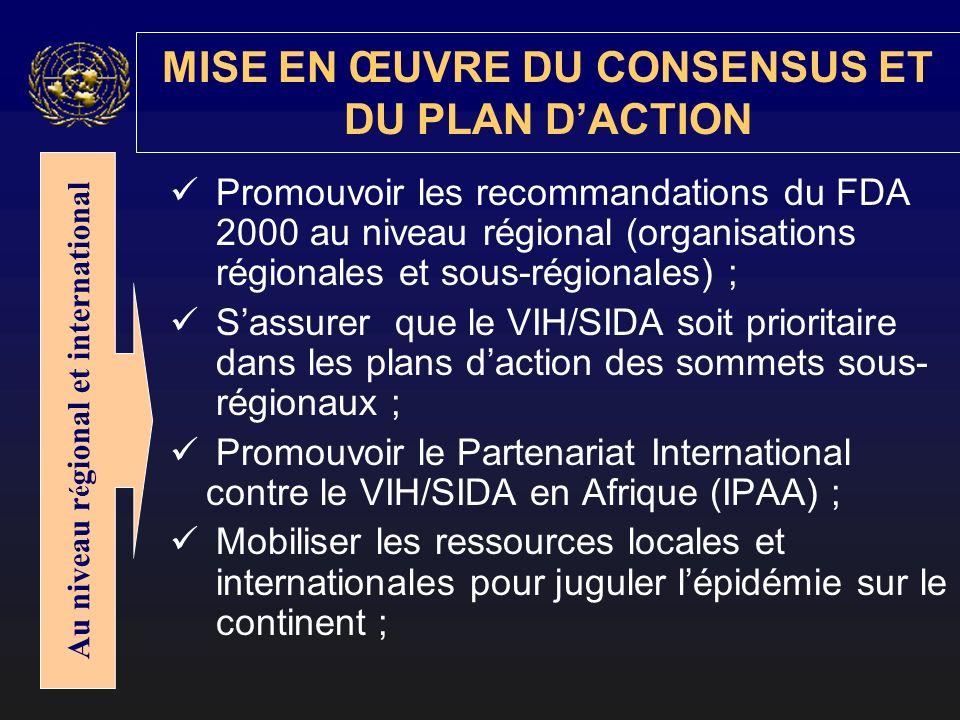 Promouvoir les recommandations du FDA 2000 au niveau régional (organisations régionales et sous-régionales) ; Sassurer que le VIH/SIDA soit prioritair