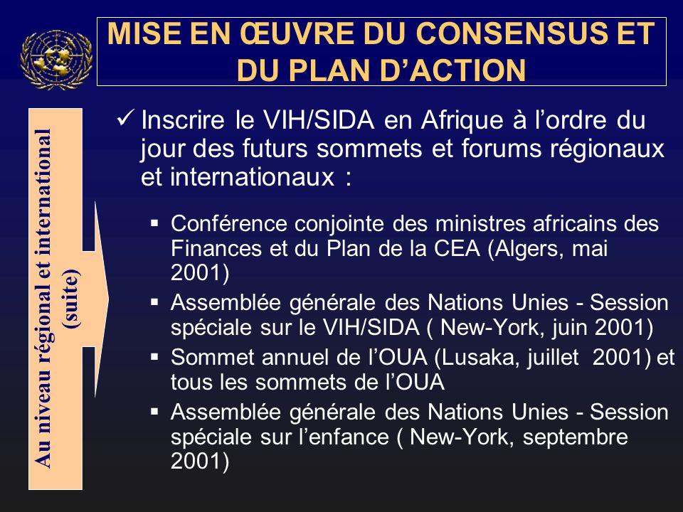 Inscrire le VIH/SIDA en Afrique à lordre du jour des futurs sommets et forums régionaux et internationaux : Conférence conjointe des ministres africains des Finances et du Plan de la CEA (Algers, mai 2001) Assemblée générale des Nations Unies - Session spéciale sur le VIH/SIDA ( New-York, juin 2001) Sommet annuel de lOUA (Lusaka, juillet 2001) et tous les sommets de lOUA Assemblée générale des Nations Unies - Session spéciale sur lenfance ( New-York, septembre 2001) MISE EN ŒUVRE DU CONSENSUS ET DU PLAN DACTION Au niveau régional et international (suite)