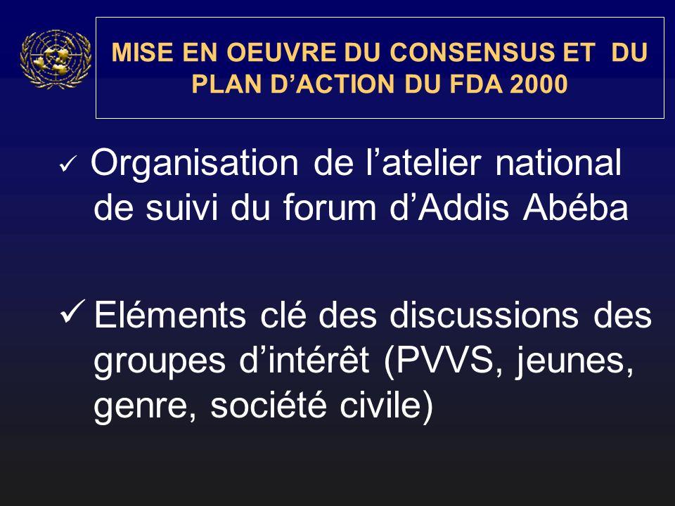 MISE EN OEUVRE DU CONSENSUS ET DU PLAN DACTION DU FDA 2000 Organisation de latelier national de suivi du forum dAddis Abéba Eléments clé des discussio
